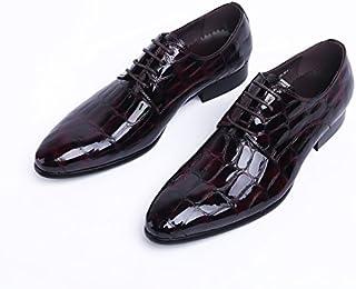 [ノーブランド品] 2018新入荷 メンズビジネスシューズ 紳士靴 ヨーロピアン本革 レザー 牛革 エナメル レースアップ ワニ紋 蛇紋 2色 ブラック&ワインレッド SE47