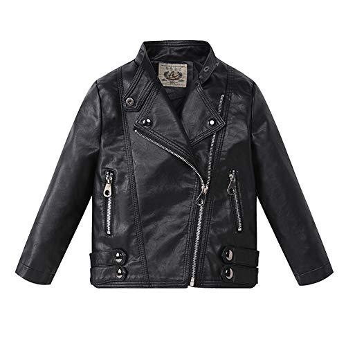 LSHEL Jungen Mädchen Kunst Lederjacke Kragen Motorrad Leder Mantel Kinder Biker Jacke, Schwarz, 98(Empfohlene Höhe 90cm)