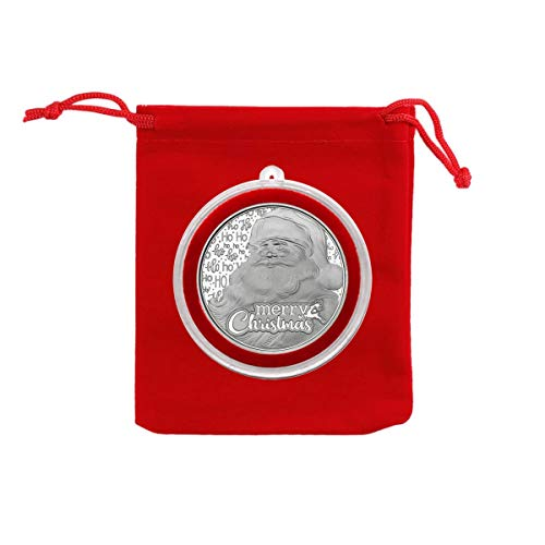 2020 - Merry Christmas Santa Claus Ho Ho Ho Silver Coin in Ornament Holder and Red Velvet Gift Bag - Uncirculated
