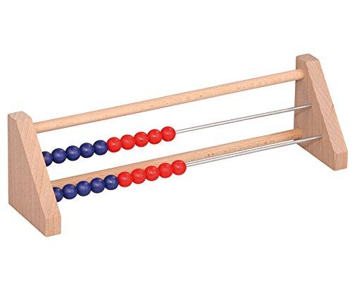 Betzold 85036 - Rechenschieber Schüler-Rechenrahmen Holz ZR 20 blau/rot - Rechnen Lernen Abakus Abacus - Mathematik Grundschule Kinder Rechenhilfe