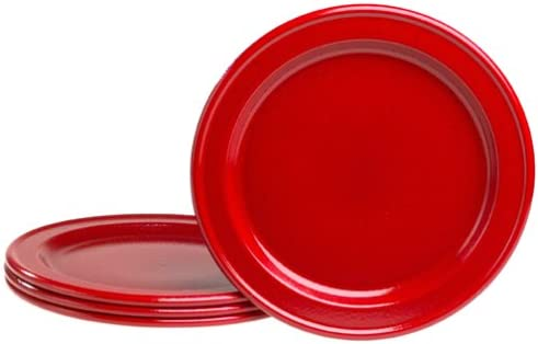 Emile Henry Couleurs Red Dinner Plates 4 of Set 新色 人気ブレゼント!