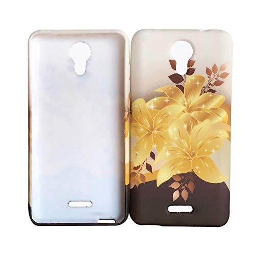 Design TPU Flexible Skin Protective Case Phone Cover for AT&T Emblem Radiant Core U304AA + Gift Stand (Yellow Gold Lily)
