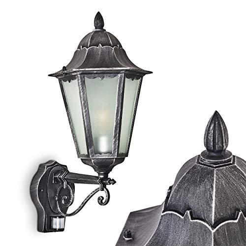 Buitenwandlamp Lignac Frost met bewegingsmelder, wandlamp naar boven in antieke uitvoering, gegoten aluminium in zwart/zilver met matglazen ruiten, wandlamp voor terras/tuin E27 stopcontact, 60 Watt, retro/vintage