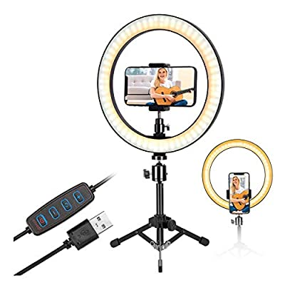 10 inch Selfie Ring Light with Metal Tripod Stand & Phone Holder for Live Streaming & Tiktok,YouTube Video,Desktop Camera Led Lights Compatilble with iPhone Aandroid by HZD
