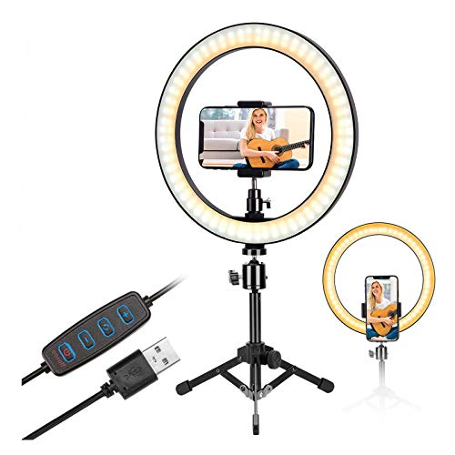 10 inch Selfie Ring Light with Metal Tripod Stand & Phone Holder for Live Streaming & Tiktok,YouTube Video,Desktop Camera Led Lights Compatilble with iPhone Aandroid