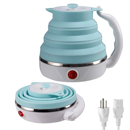 Travel Foldable Electric Kettle, Collapsible Electric Kettle Food Grade Silicone Small Electric Kettle Boiling water,Dual Voltage(600ml,110-220V US Plug) (Blue)
