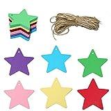 120pcs Etiquetas de Papel Kraft Forma de Estrella 6cm para Adornos Navideños/Fiesta, Manualidades, Equipaje, con 20M Cordel de Yute (multicolor)