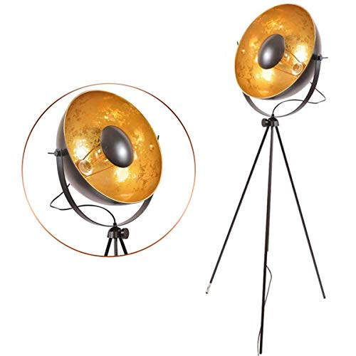Industrial Studio Designer Modern Tripod Desk Floor Table Lamp Steel Searchlight Contemporary Black Matte Golden Deco Adjustable Standing Lighting Fixtures Rustic with Shade (Edison Gold)