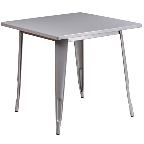 Flash Furniture 31.5'' Square Silver Metal Indoor-Outdoor Table, ET-CT002-1-SIL-GG