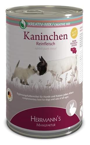Herrmanns Ergänzungsfutter für Hunde und Katzen Kaninchen 100% Reinfleisch, 400 g