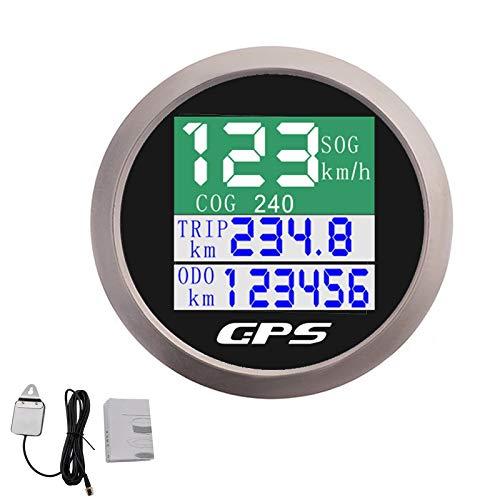 LZZJ Tachometer 52mm wasserdichte IP67 Bootsauto Digital GPS Tachometer Kilometerzähler TFT Screen Dry COG Gauge mit GPS-Antenne Fit 12~24V (Color : Black Silver)