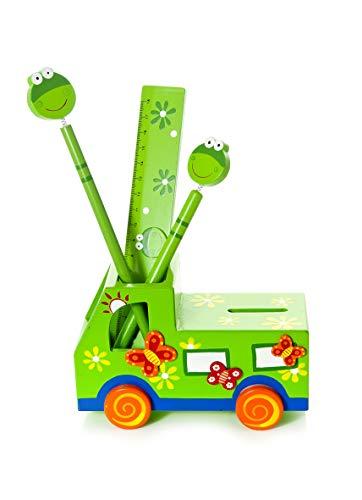 Pot à Crayons et Tirelire Camion Vert pour garçons et Filles