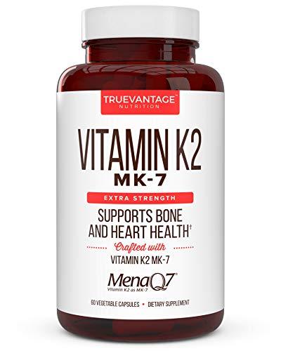 Vitamin k2 MK-7 Supplement 180mcg -Vitamin K2 Supports Bone & Heart Health for Cardiovascular Calcium Absorption from Arteries- 60 Easy to Swallow Vegan caps of MenaQ7 K2 MK7