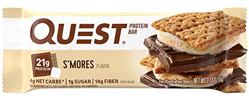Quest Nutrition Protein Bar, S,mores, 20g Protein, 4g Net Carbs, 180 Cals, Low Carb, Gluten Free, Soy Free, 2.12oz Bar, 12 Count