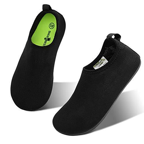 hiitave Kids Water Shoes Non-Slip Quick Dry Swim Barefoot Beach Aqua Pool Socks for Boys & Girls Toddler Black 7-8 M US Toddler