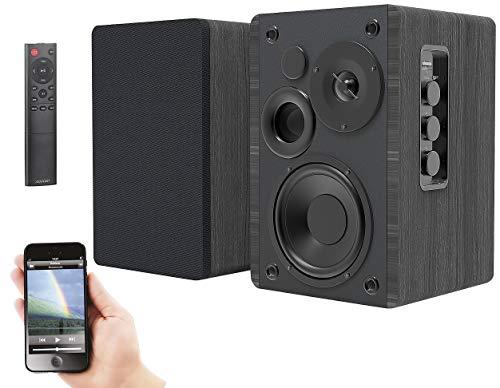 auvisio Lautsprecher: Aktives Stereo-Regallautsprecher-Set, Holz-Gehäuse, Bluetooth 5, 120 W (Aktive Boxen)