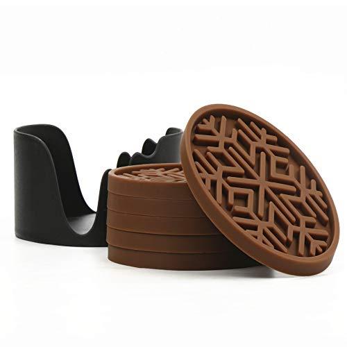シリコーンドリンクコースターセット6個セット(ホルダー付き)- 滑り止め、防水、断熱のコースター、簡単に洗えるカップマット (珈琲,スノーフレーク)