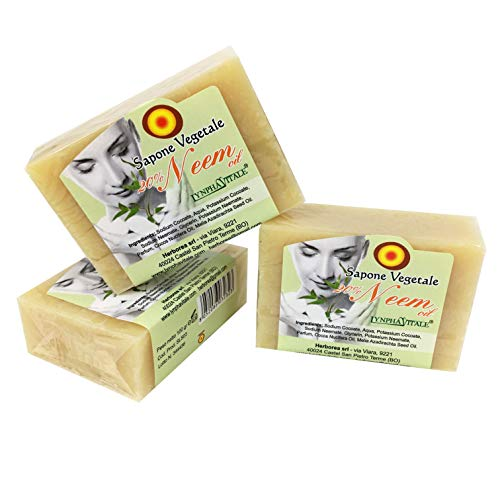 Neem oliezeep - 100% natuurlijke en organische zeep met schimmelwerende eigenschappen - hydraterende zeep voor gevoelige huid - zeep voor huisdieren, honden en katten – Kit 3 zeepjes