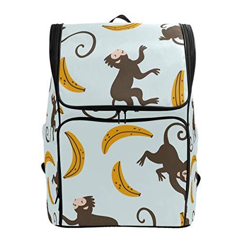 Sac à dos pour ordinateur portable Happy Monkeys Jaune Motif banane Grande capacité Sac de voyage