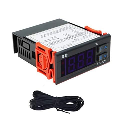 Nrpfell ETC-200 + Controlador de Temperatura Termostatos de Microordenador Termostato Digital Alarma de DescongelacióN de RefrigeracióN 220 V