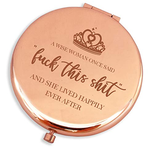 Blue Leaves Fun Birthday Gifts for Women-Luck This Sht- Makeup Mirror Rose Gold,Funny Birthday, Mother's Day, Retirement, Divorce, for Women