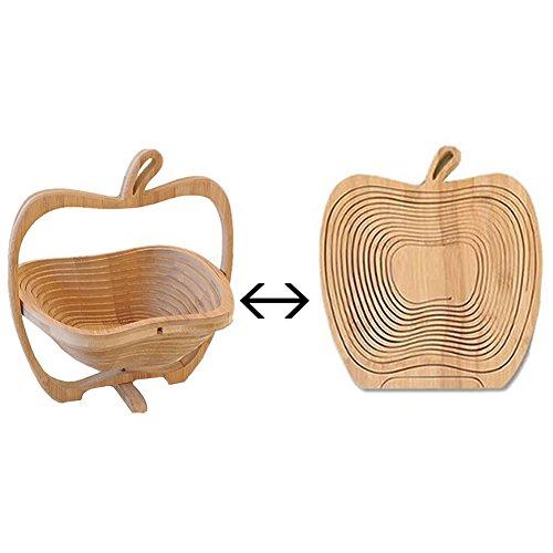 【 可愛い & おしゃれ 】 3D りんご 型 折りたたみ バスケット 竹 製 大人 インテリア 家具 雑貨 くだもの カゴ 小物 入れ デザイン MI-APPLKAGO 【COM-SHOT】