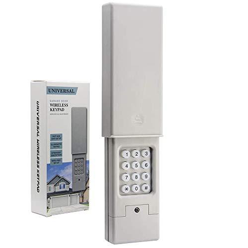 Universal 2-Channel Garage Door Opener Keypad for Chamberlain Liftmaster Genie Linear Craftsman Stanley Dip Switch, Wireless Keyless Entry