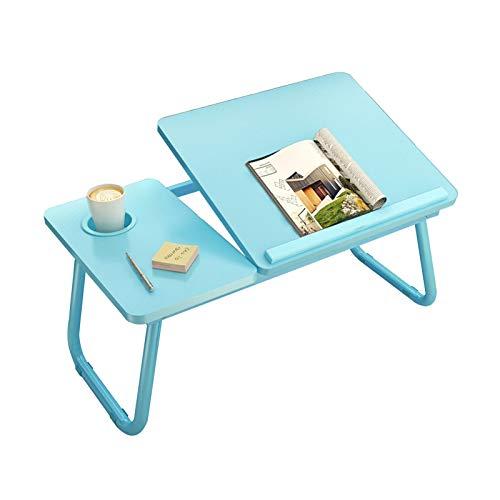 Mesa de Pared Plegable Seis Colores Plegable Amplíe el Escritorio Fuerte Capacidad de Carga Patas de Mesa Antideslizantes Diseño de portavasos Usado para Cuarto Dormitorio Suelo (Color : Blue)