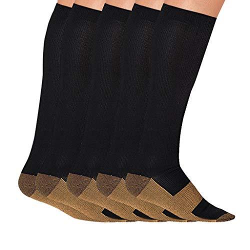 Rosennie 5 Paar Damen Herren Winter Kompressionsstrümpfe,Atmungsaktive Lange Socken Kniestrümpfe für Frauen &Männer Kompressionssocken für Sport Socken Medizinische Strümpfe Socken