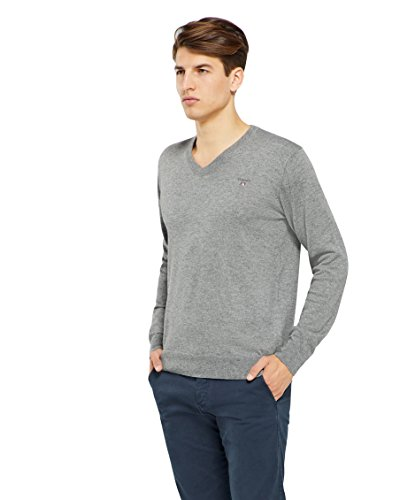 GANT Cotton Wool V-Neck Pull, Gris (Dark Grey Melange 92), Small (Taille Fabricant: S) Homme