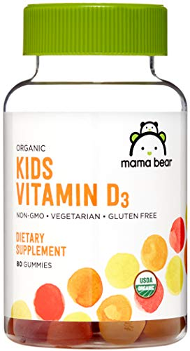 Amazon Brand - Mama Bear Organic Kids Vitamin D3 25 mcg (1000 IU) per serving, Bone and Immune Health, 80 Gummies