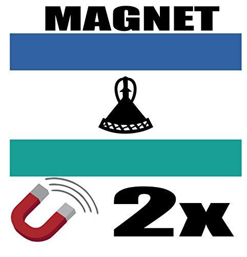 SAFIRMES 2 x Lesotho-Flagge, magnetisch, 6 x 3 cm