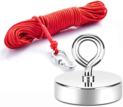 Neosmuk Fishing Magnet with Rope 500 LBS 2 5 Inches Neodymium Magnet with Lifting Eye Bolt and product image