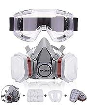 NASUM Facial Cubierta Antipolvo, con 2 Filtros / 2 Cajas / 8 Algodones/Gafas Protectoras, contra Polvo/Partículas/Vapor/Gas, para Artesanos/Bricolaje/Fumigación de Pintura etc.