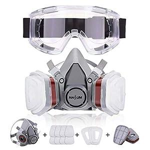 41T9JcjoAaL. SS300  - NASUM Facial Cubierta Antipolvo, con 2 Filtros / 2 Cajas / 8 Algodones/Gafas Protectoras, contra Polvo/Partículas/Vapor/Gas, para Artesanos/Bricolaje/Fumigación de Pintura etc.