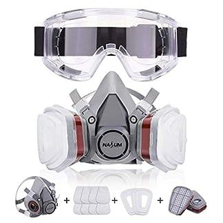 NASUM Respirador Máscara Antipolvo con 2 filtros / 2 Cajas / 8 algodones/Gafas Protectoras, contra Polvo/partículas/Vapor/Gas, para Artesanos/Bricolaje/fumigación de Pintura etc.