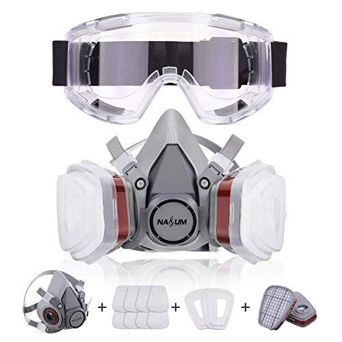 NASUM Faccia Copertina con Occhiali Protettivi, per Verniciatura a Spruzzo, Polvere, Levigatura a Macchina, Formaldeide Protezione
