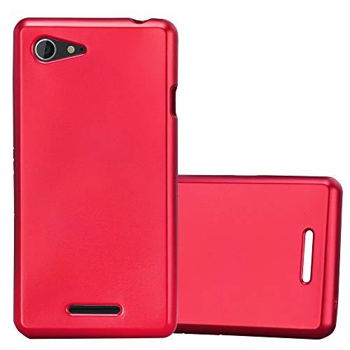 Cadorabo Funda para Sony Xperia E3 en Metallic Rojo – Cubierta Proteccíon de Silicona TPU Delgada e Flexible con Antichoque – Gel Case Cover Carcasa Ligera