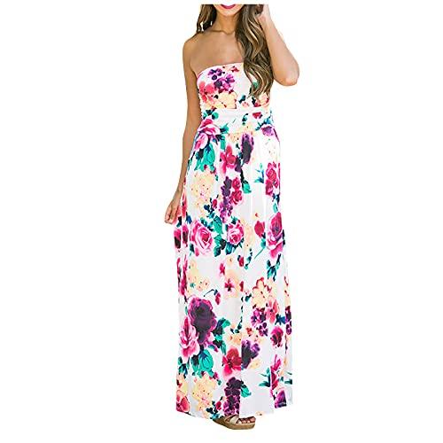 Liably Vestido elegante para mujer, estilo bohemio, estampado envolvente en el pecho, vestido largo, para verano, moderno, elegante, largo de talle alto, vestido de noche, colorido, retro Blanco XL