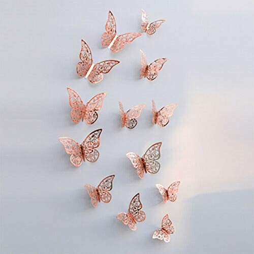 Yueshop 12Pcs Christmas Tree Xmas Butterfly Decorations Baubles Party Wedding Ornament (Rose Gold)