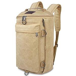 41T9KvCvvrL. SS300  - Bioasis Vintage Canvas Laptop Mochila de Viaje Messenger Bandolera Messenger Crossbody Daypack Bolsas (Caqui)