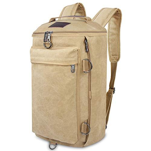 Bioasis Vintage Canvas Laptop Mochila de Viaje Messenger Bandolera Messenger Crossbody Daypack Bolsas (Caqui)