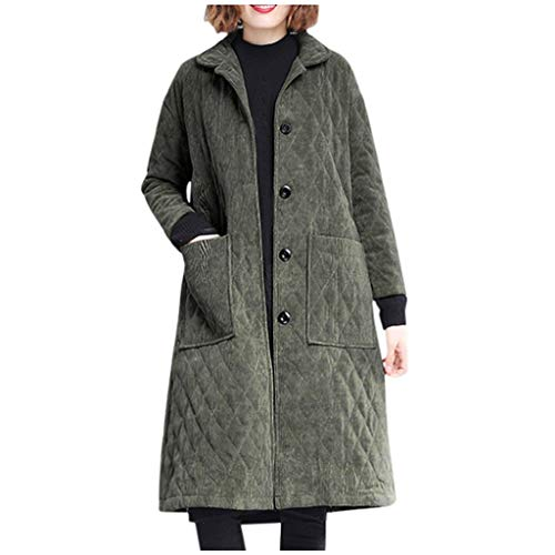 Women Corduroy Coats SFE Winter Single Breasted Lapel Thickened Warm Length Overcoat with Pockets Plus Size Army Green