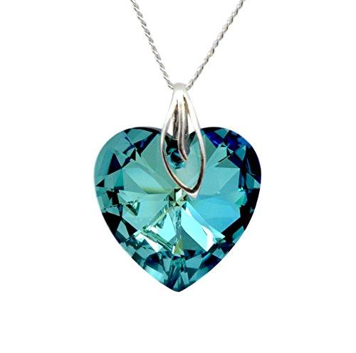 """Crystals & Stones, cuore, 28 mm, """"Bermuda Blue"""" con catena in argento 925, con pendente originale Swarovski®, collana con custodia per gioielli"""