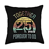 Best Marriage Anniversary Gifts - Family Apparel 25th Years Wedding Anniversary Gifts For Couples Matching Throw Pillow, 18x18, Multicolor