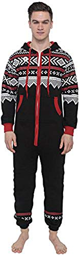 Juicy Trendz® Herren Onesie Overall Trainingsanzug Jogginganzug Einteiler Muster Jumpsuit, H-aztec-black-red, M