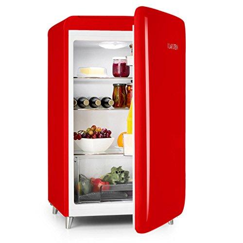 KLARSTEIN PopArt-Bar - mini réfrigérateur rétro, classe d'energie A+, look retro, charnière à droite, style années 50, bac à légume, 136L - rouge