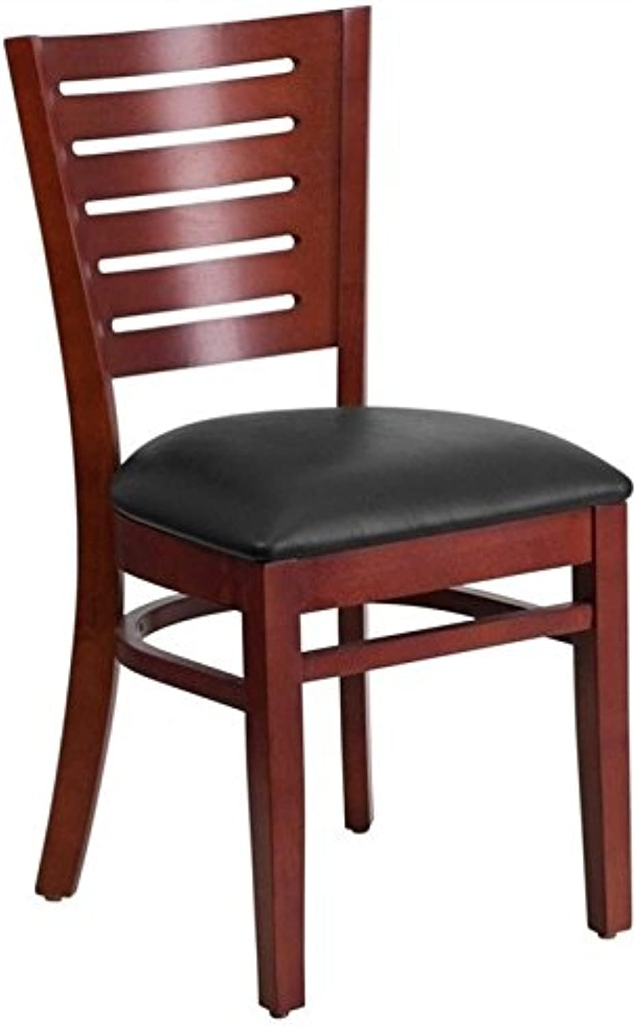 Bowery Hill Upholstered Restaurant Dining Chair in Mahogany and Black