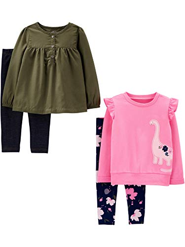 Simple Joys by Carter's Girls' 4-Piece Long-Sleeve Shirts and Pants Playwear Set, Olive/Pink Dino, 5T
