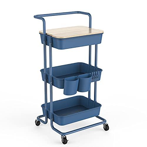 DTK - Carrito giratorio de 3 niveles con tapa para almacenamiento, con asa y ruedas de bloqueo, carrito de cocina con 2 cestas pequeñas y 4 ganchos para baño, oficina, balcón, sala de estar